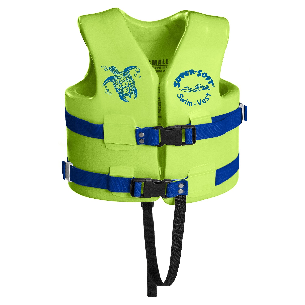 TRC RECREATION KIDS SUPER SOFT USCG VEST, SMALL - KOOL LIME GREEN