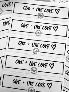 GIVE + LIVE LOVE Vinyl Decals