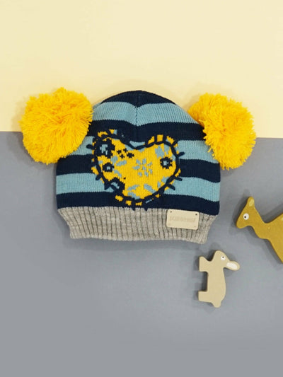 Heart Striped Double Bobble Hat