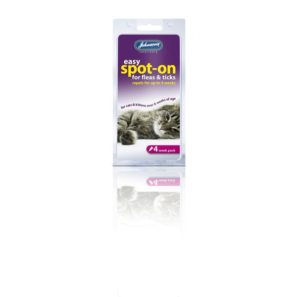 Johnson's Natural Herbal Easy Spot On for Fleas & Ticks for Cats 4 - 12 - 24 weeks packs. Contains natural oils