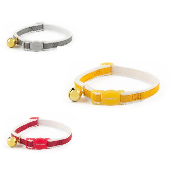 Ancol Safe Reflective Cat Collar Red, Yellow and Silver Breakaway Buckle Soft Padding Bright