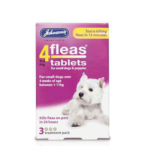 Jonhson's 4fleas Tablets - Small Dogs & Puppies Up To 11kg 3 Tablets