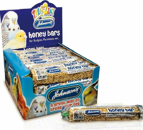 Johnsons Budgie & Parakeet Honey Bars Bird Treat 35g - hanger, treat, fun