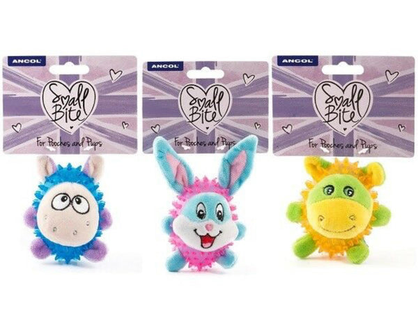 Small Bite Happy spiky Ball - Lamb, Donkey & Rabbit for small dogs and puppies 8cm