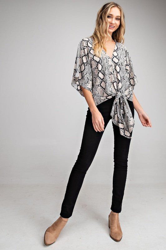Grey Snakeskin Front Tie Top