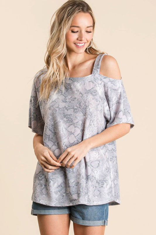 Grey Snakeskin One Shoulder Top