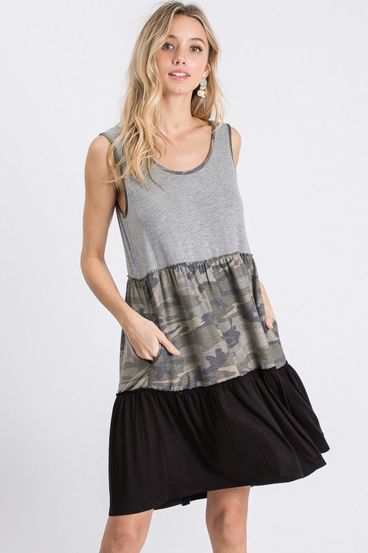 Camo Colorblock Ruffle Dress