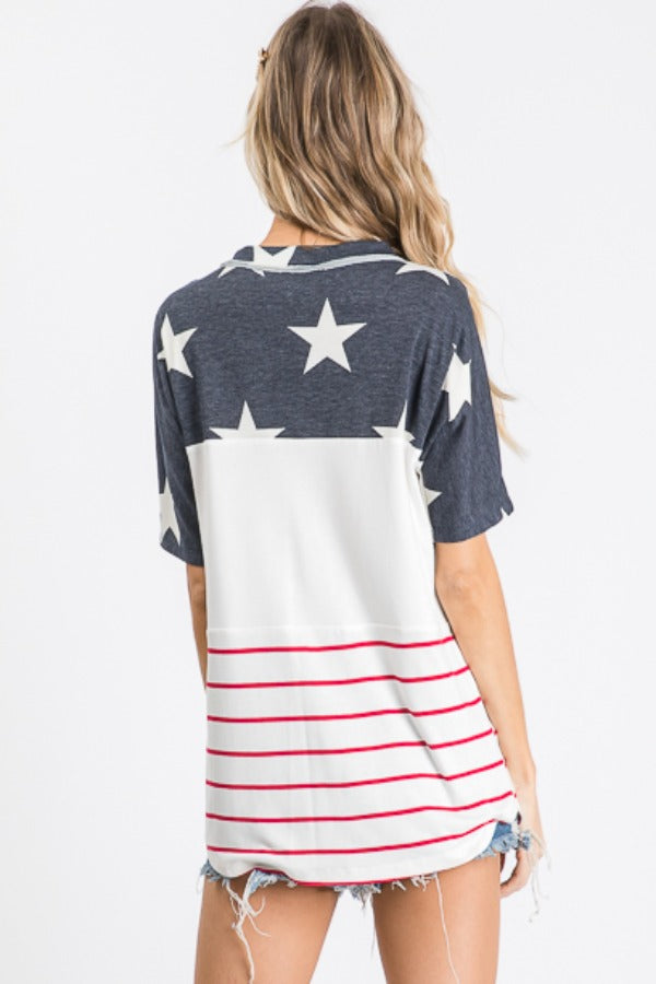 Navy Star Button Front Top