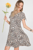 Leopard Tie Sleeve Dress
