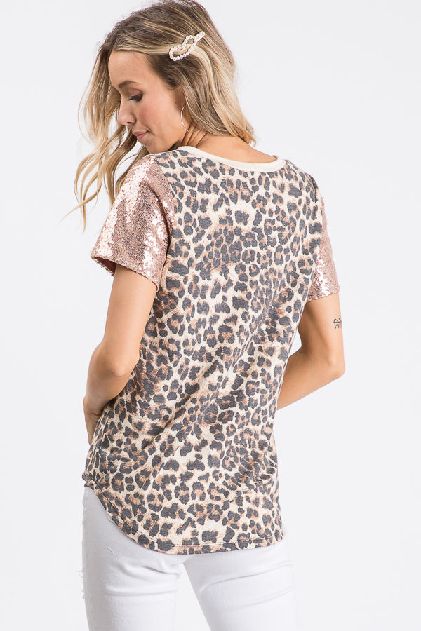 Blush Leopard Sequin Top