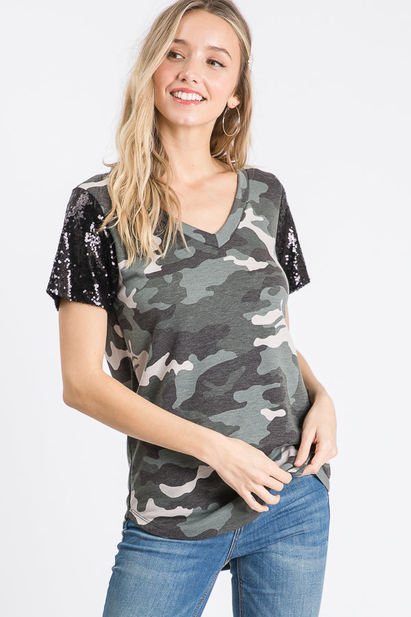 Black Camo Sequin Top