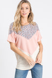 Blush Leopard Colorblock Top
