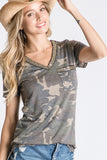 Olive Camo Sequin Pocket Top