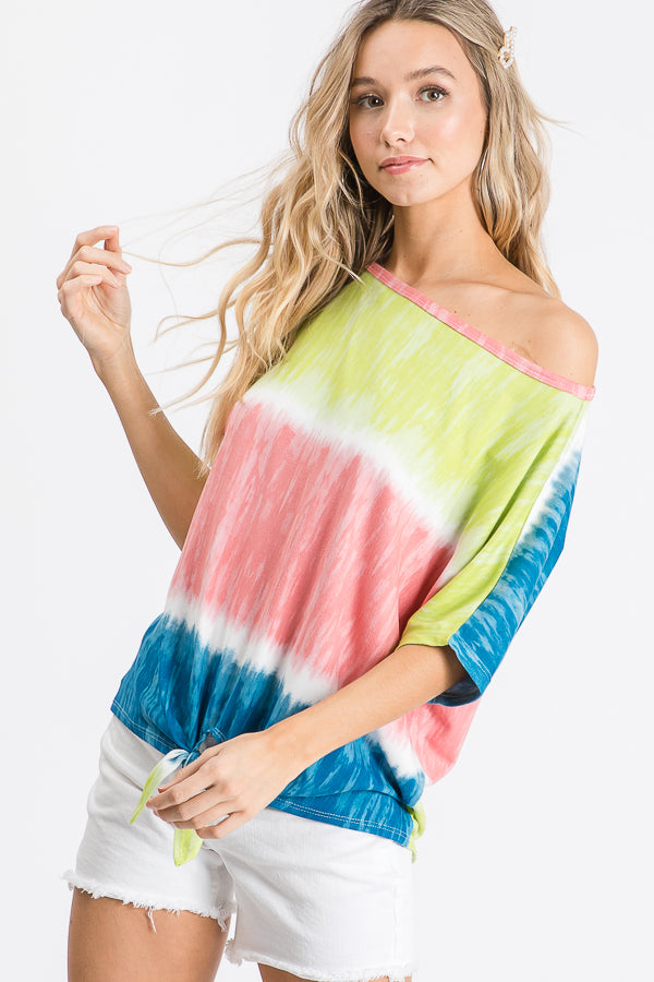 Lime Tie Dye Knot Top