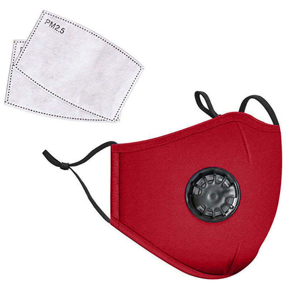 Red PM 2.5 Reusable Cloth Face Mask with 2 filters