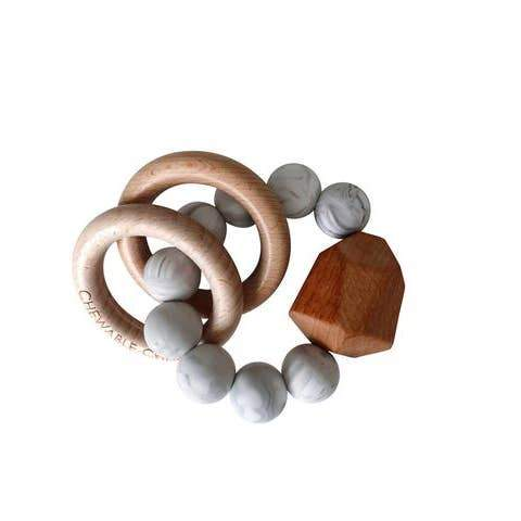Chewable Charm | Howlite Hayes Silicone + Wood Teether Ring | Organic Maple Beads | Made in the USA