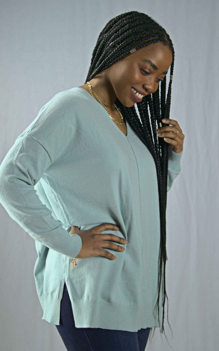 Savannah Sweater Top - Mineral Blue