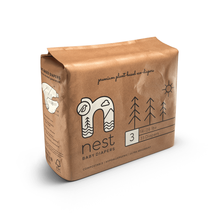 Nest Diapers | Premium Plant-Based Eco-Diapers | Size 3, 132-Count Case