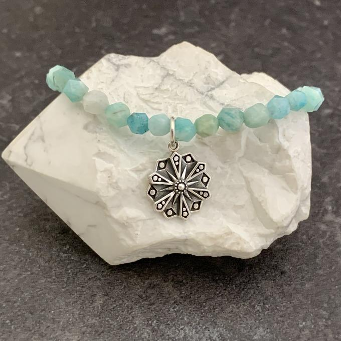 Amazonite Faceted with Courage Mandala Bracelet
