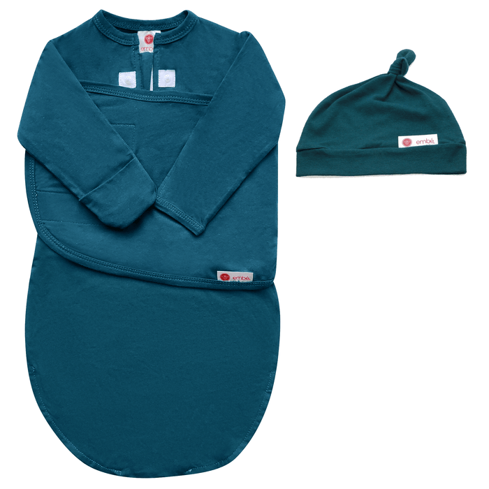 Embé | Hat and Starter Long Sleeves Swaddle Bundle (Spruce)