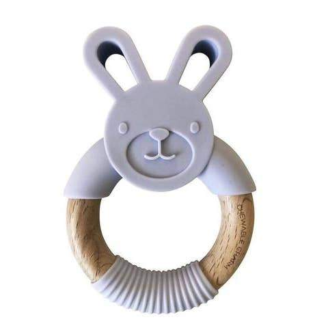 Chewable Charm | Bunny Silicone + Wood Teether | Organic Beech Wood | Made in the USA