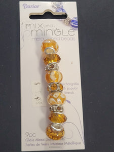 Darice Mix and Mingle Glass Metal-lined Topaz Beads
