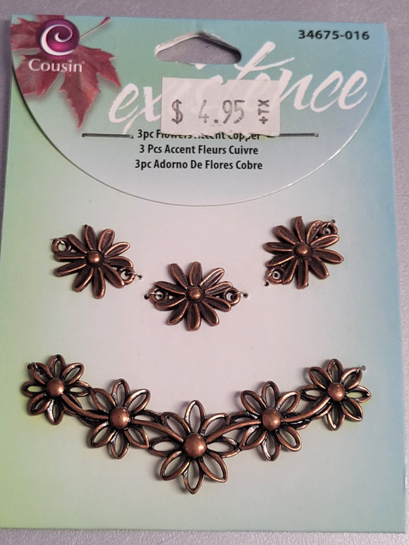 Cousin Jewelry 3pc Flowers Accent Copper