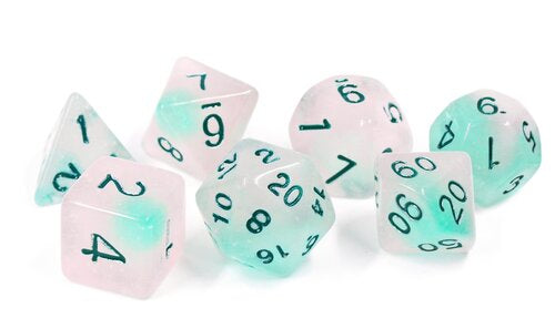 Glow in the Dark Dice Set - Frosted Glowworm