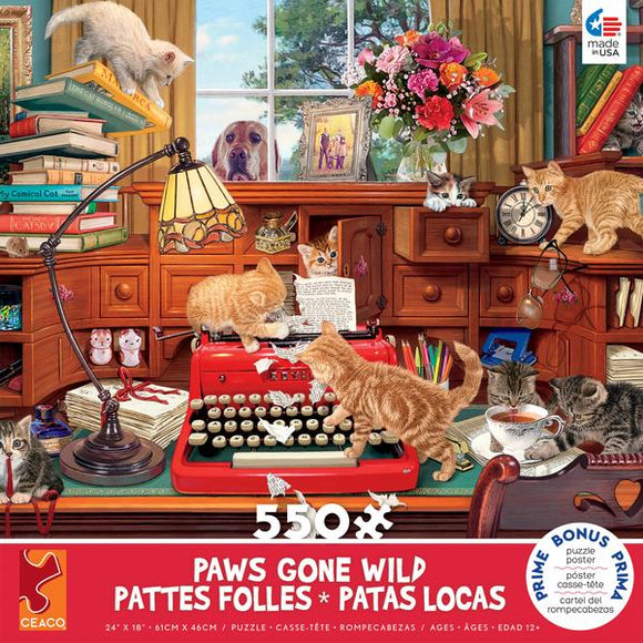 PAWS GONE WILD - WRITER'S BLOCK - 550 PIECE PUZZLE