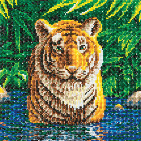 Craft Buddy Crystal Art Kit Tiger Pool 30 x 30 cm Pre-Framed 5D Art Kit