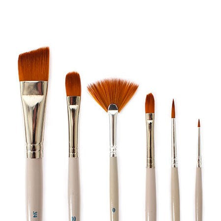 Nobel Assorted golden synthetic brushes, set of 6