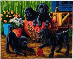 Craft Buddy Crystal Art Kit  Black Labrador Puppies 40 x 50cm Pre-Framed 5D Art Kit