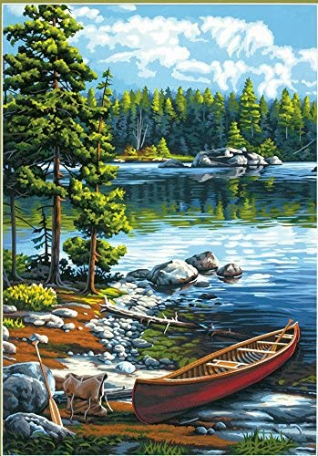Canoe by the Lake Frame & Paint-by-Number Kit