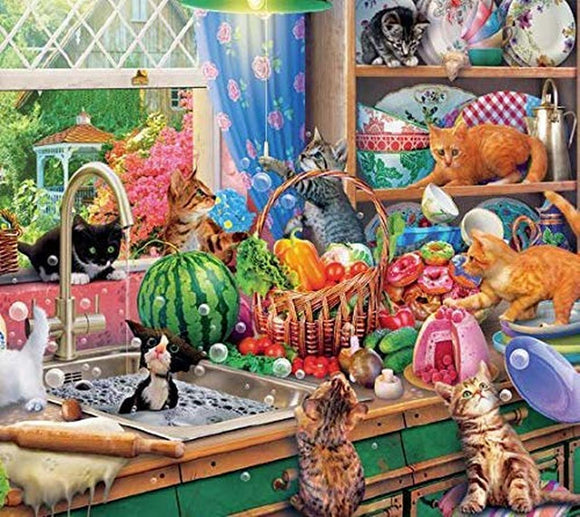 Paws Gone Wild: Kitchen Capers - 550pc Jigsaw Puzzle by Ceaco