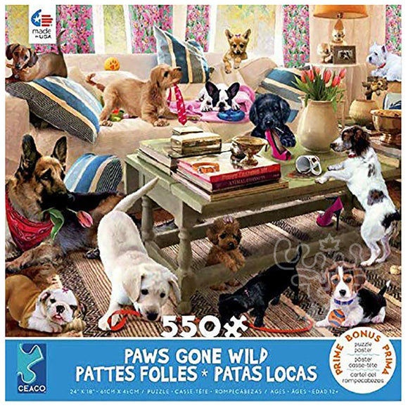 Ceaco Paws Gone Wild Living Room Rompers Puzzle 550pcs