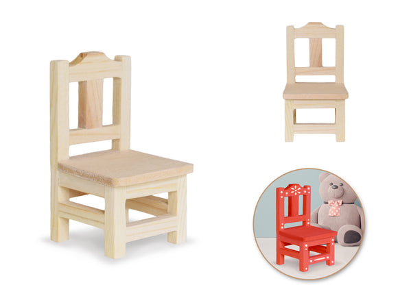 Wood Craft: 5.3x5.3x9.5cm DIY Mini Dining Chair