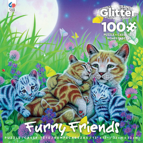 Ceaco Furry Friends Glitter 100-Piece Puzzle Family Cat