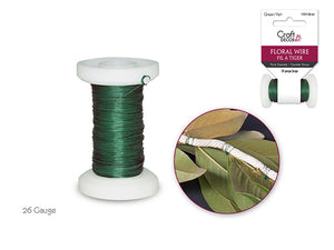 Floral Spool Wire: 30g Green 36m (0.30mm)