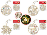 "Holiday Wood: 3.75"" 3D Gemmed Ornament w/Jute Cord Asst 9eax4styles A) Holiday Icons"