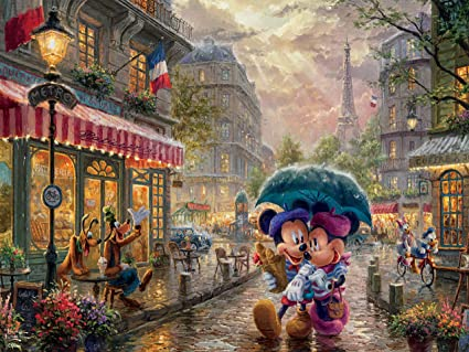 Ceaco Thomas Kinkade Ceaco Thomas Kinkade Disney Dreams - Mickey and Minnie in Paris Jigsaw Puzzle, 300 Pieces