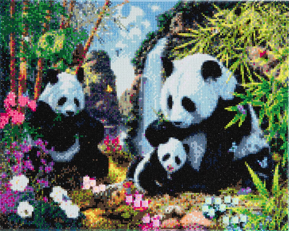 Craft Buddy Crystal Art Kit  Panda Valley 40 x 50cm Pre-Framed 5D Art Kit