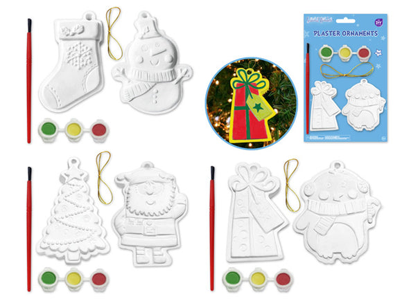 Seasonal Wonders: DIY Plaster Ornaments w/Brush+Paints Asst