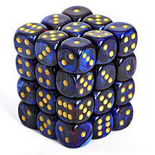 CHX Festive Dice: Royal Blue w/ Gold 12mm d6 Block (36ct) 27827