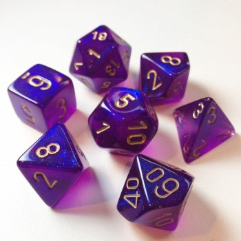 Chessex Borealis Polyhedral Royal Purple/gold Luminary 7-Die Set