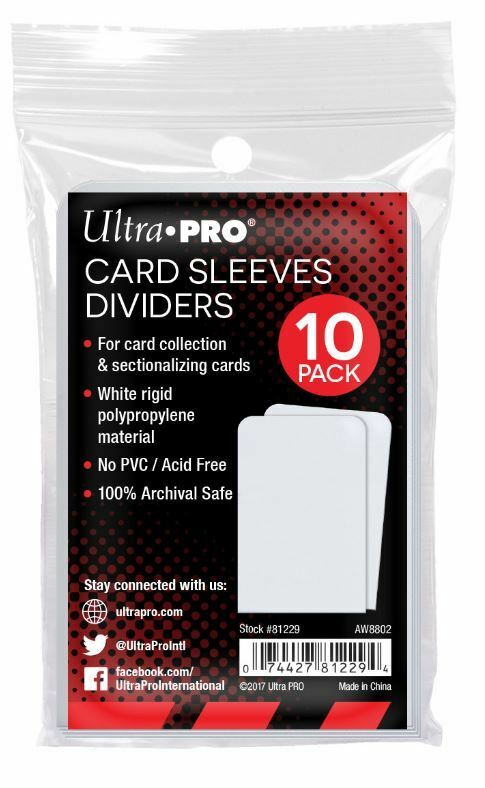 Ultra Pro Taller Trading Card Sleeves Dividers - Fits Card Storage Boxes