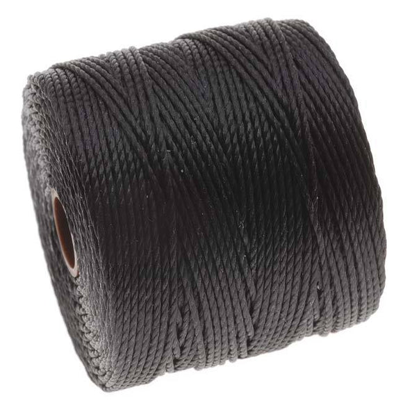 0.5MM 3 PLY S-LON (SUPER-LON) BEAD CORD BLACK 77 YD SPOOL