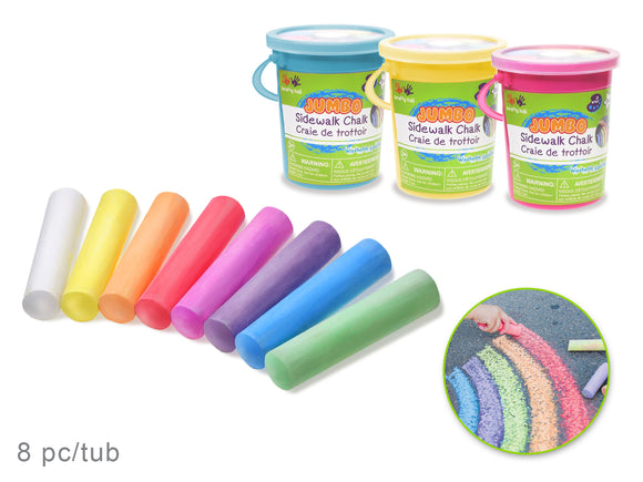 Krafty Kids: Lil' Artist Jumbo Sidewalk Chalk Tub 8pc Asst Colors