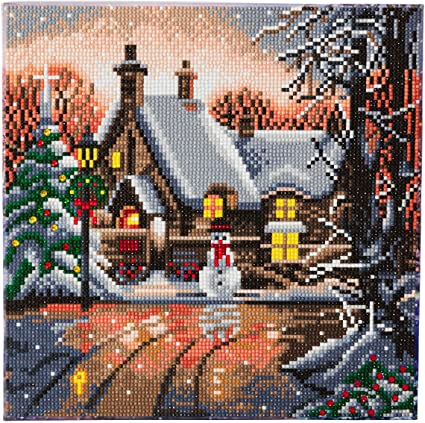 Craft Buddy Crystal Art Kit Snowman Cottage 30 x 30 cm Pre-Framed 5D Art Kit