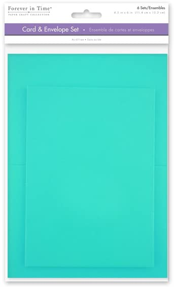 Forever in Time  Cards and Envelopes, 6 Sets, 4.5 in x 6 in, Tiffany Blue