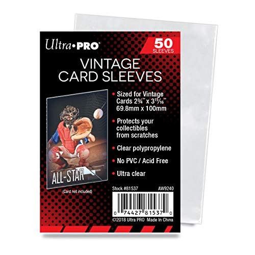 Ultra Pro Vintage Card Sleeves - Clear Sleeves For Vintage Baseball Cards and Memorabilia, 50ct
